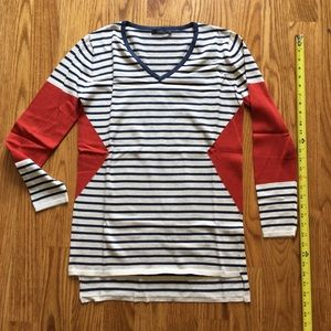 Sweaters - NEW Orange & Navy Striped Geo Sweater